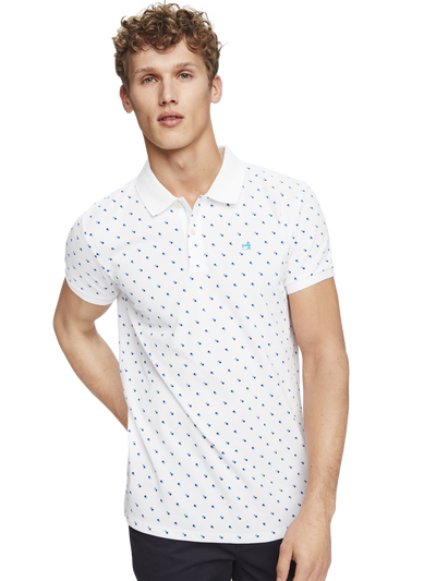 Scotch & Soda Classic Pique Polo with Mini-Print Combo B