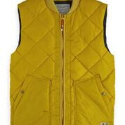 Scotch & Soda Quilted Bodywarmer with Bomber Collar in Barn Yellow Front