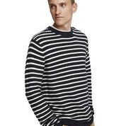 Scotch & Soda Classic Crewneck Pullover in Structured Knit Combo A 0217 Black Stripe