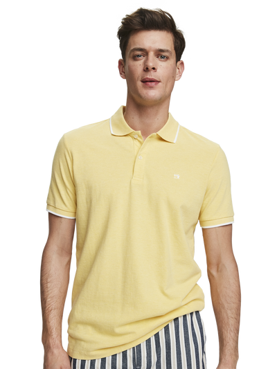 Scotch & Soda Melange Cotton Pique Polo in Bamboo Yellow