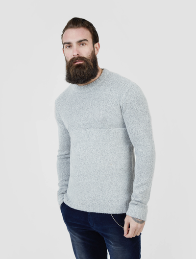 Pearly King Nevis Mohair Mix Knit Jumper in Light Grey