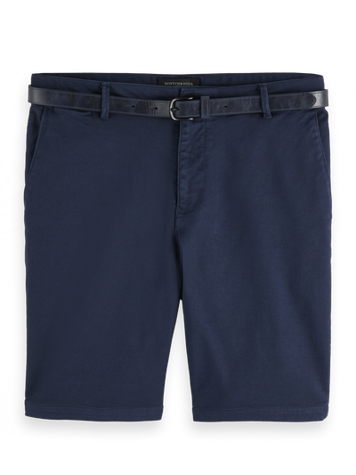 Scotch & Soda Stretch Cotton Chino Shorts in Navy