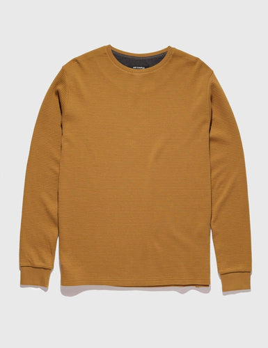 Mr Simple Waffle Long Sleeve Tee in Tobacco Front Flat Shot