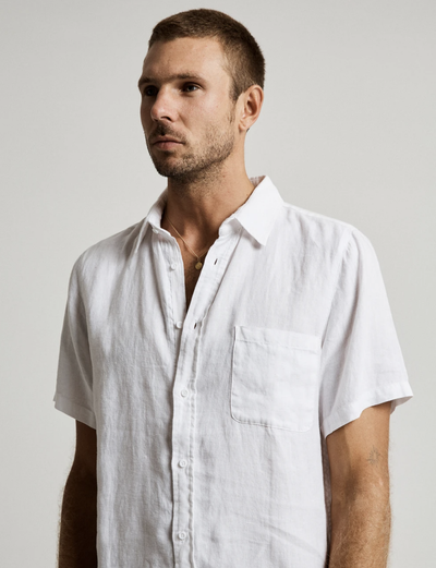 Mr Simple Linen Short Sleeve Shirt -  White | Buster McGee Daylesford