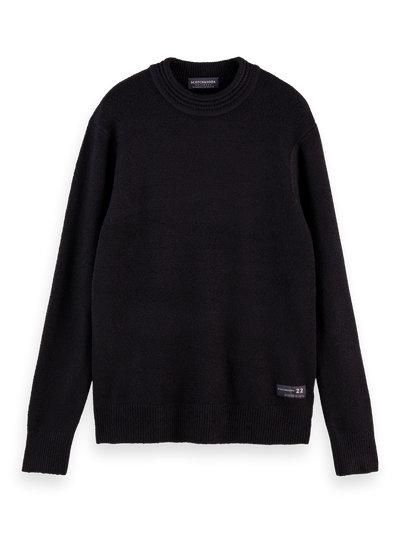 Scotch & Soda - Soft Knit Crewneck Pullover with High Neck in Black | Buster McGee