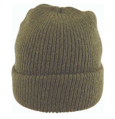 Fishermans Rib Double Knit Ragg Wool Beanie in Khaki