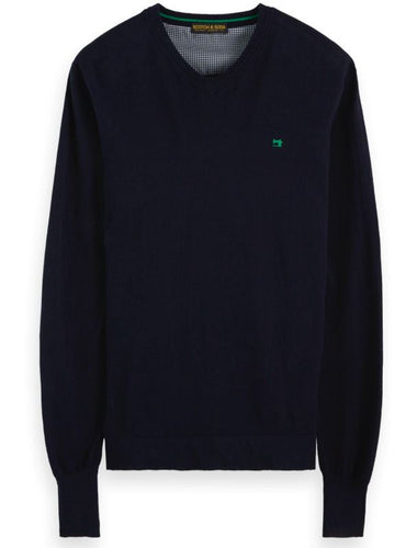 Scotch & Soda Classic v-neck Pullover in Soft Quality in Navy