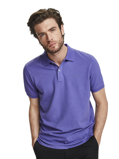 Scotch & Soda Classic Garment Dyed Stretch Pique Polo in Electric Purple Melange