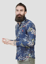 Load image into Gallery viewer, Pearly King Quartz Leaf Print  L/S Shirt in Navy