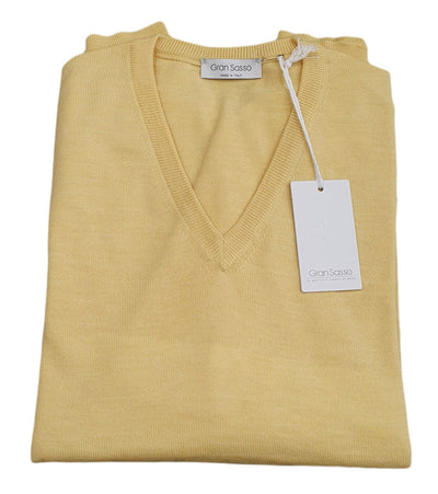 Gran Sasso Men's Extrafine Merino V-Neck Knit in Lemon