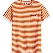 Load image into Gallery viewer, Ams Blauws Striped Tee with Chest Print
