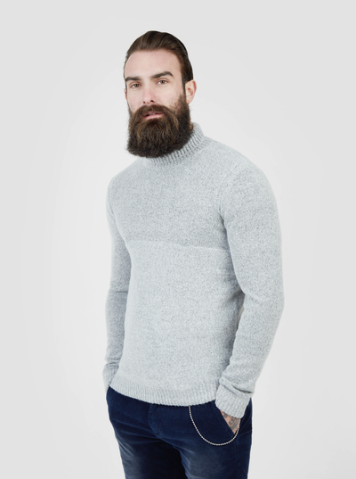 Pearly King Earthling Low Turtle Neck Knit in Light Grey