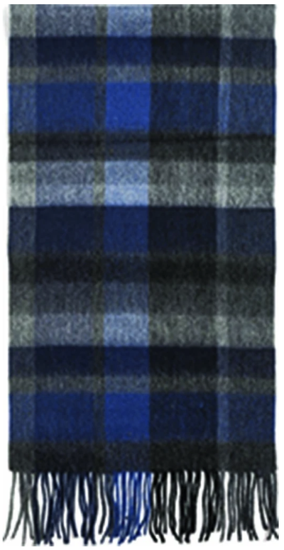Failsworth Lambswool Check Scarf in Blue Black and Grey