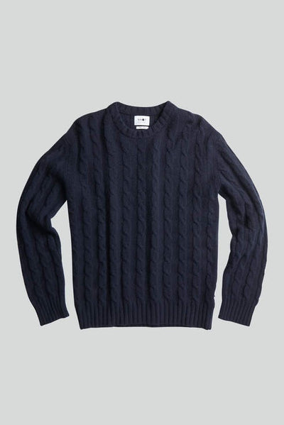 NN07 / Fabian 6333 Lambswool Cable Knit Sweater / Navy Blue | Buster McGee
