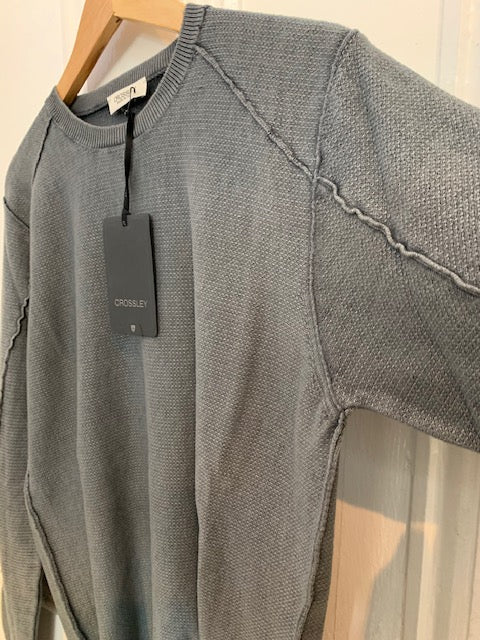 Crossley WIFTC Longsleeve Cotton Crewneck Knit in Light Grey