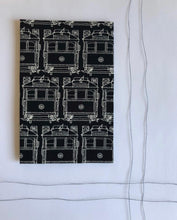 Load image into Gallery viewer, Hanky Fever Men's Trams Handkerchief  White on Black