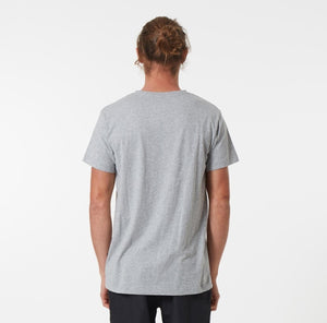 Mr Simple Reginald Tee in Grey Marle Rear Shot Modelled