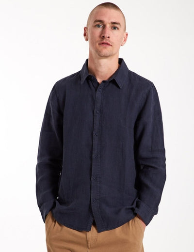 Mr Simple Linen Long Sleeve Shirt / Navy