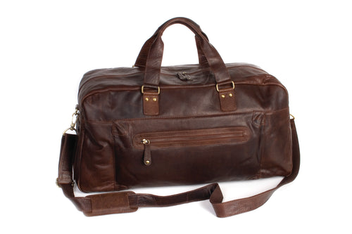 Oran Leather Travel Bag in Brown