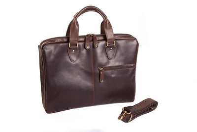Oran Leather Garnet Leather Laptop Case in Brown