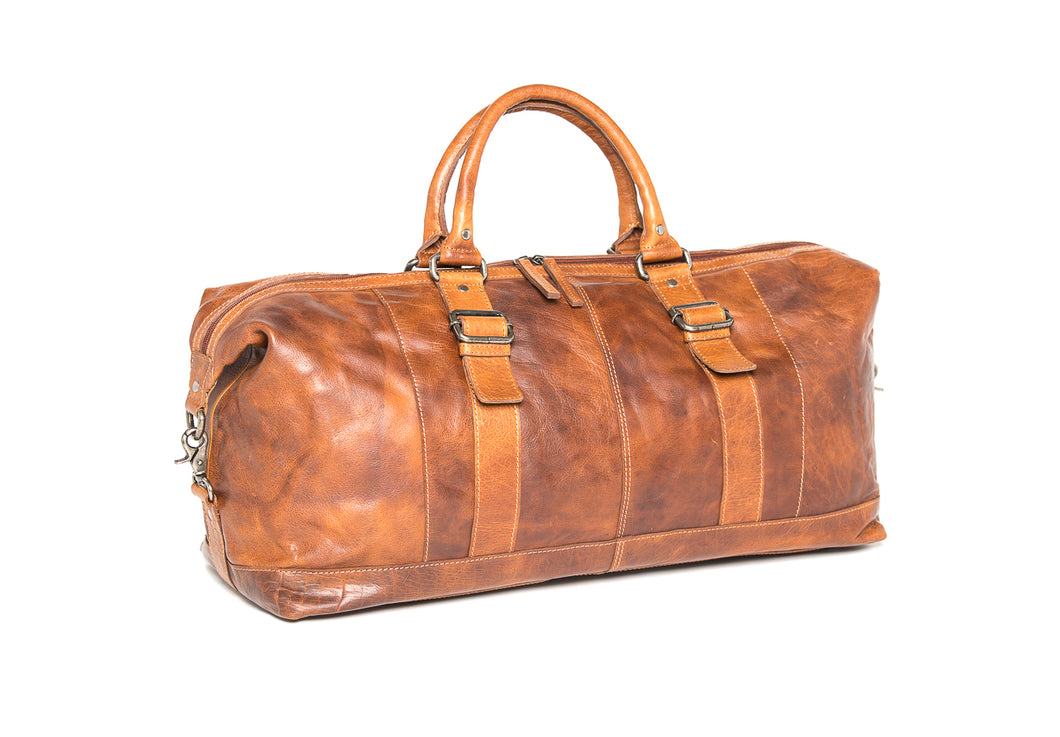 Oran Leather Toowoomba Leather Weekender in Brandy