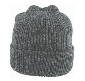 Fishermans Rib Double Knit Ragg Wool Beanie in Charcoal