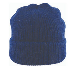 Fishermans Rib Double Knit Ragg Wool Beanie in Navy