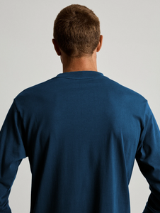 Mr Simple Fair Trade Heavy Weight Longsleeve Tee in Washed Indigo