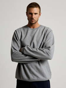 Mr Simple Fair Trade Crew Neck Fleece in Grey Marle