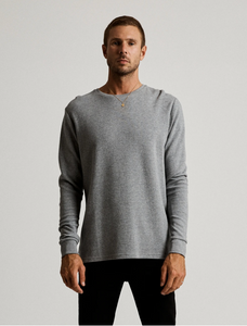 Mr Simple Waffle Long Sleeve Tee in Grey Marle