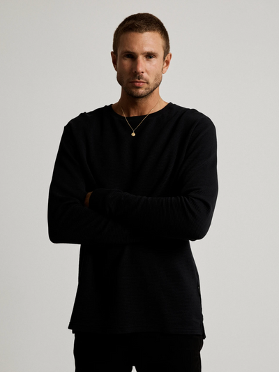 Mr Simple Waffle Long Sleeve Tee in Black