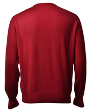 Load image into Gallery viewer, Gran Sasso Men's Extrafine Merino V-Neck Knit in Blood Red