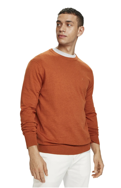 Scotch & Soda Basic Classic Cotton Cashmere Pullover in Rum Run Melange