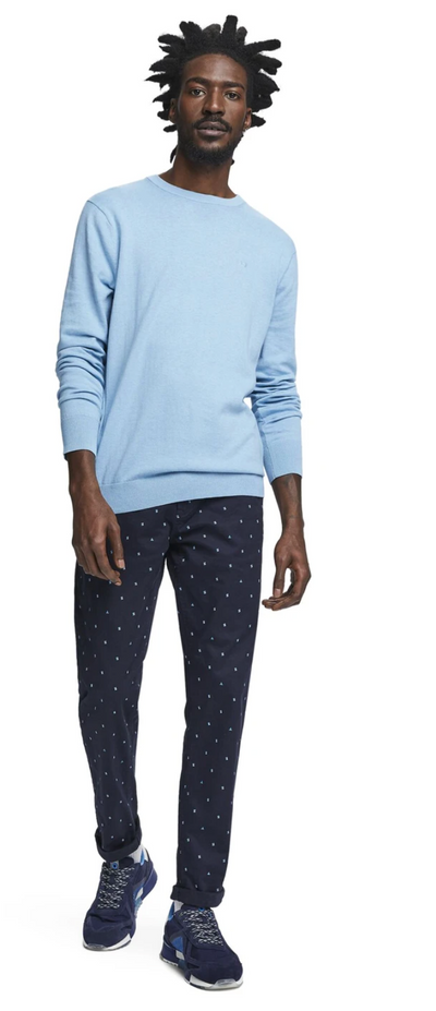 Scotch & Soda Basic Classic Cotton Cashmere Pullover in Surf Mist Melange