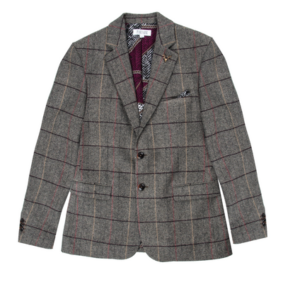 Pearly King Static Tailored Blazer in Sand/Brown Check | Buster McGee Daylesford