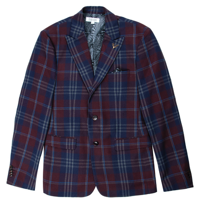 Pearly King Vague Tailored Blazer in Burgundy & Blue Check | Buster McGee