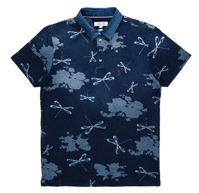Pearly King - Remiss Botanical Print Short Sleeve Polo in Indigo | Buster McGee