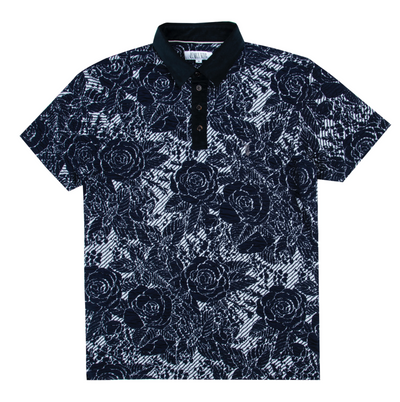 Pearly King - Shrew Floral Knitted Short Sleeve Polo in Navy | Buster McGee