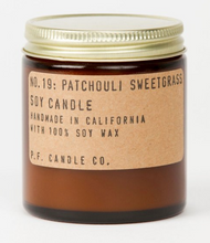 Load image into Gallery viewer,  P F Candle Co Patchouli Sweetgrass Candles