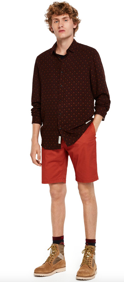 Scotch & Soda Classic Cotton Chino Short  in Urban Brick