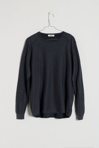 Crossley WIFTC Longsleeve Cotton Crewneck Knit in Charcoal