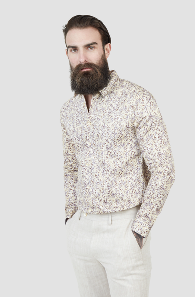 Pearly King Spar Liberty Inspired Leaf Print Shirt in Stone