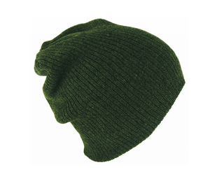 Avenel of Melbourne Rib Knit Slouch Beanie in Olive