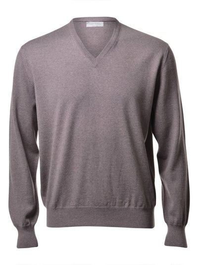 Gran Sasso Men's Extrafine Merino V-Neck Knit in Hazel