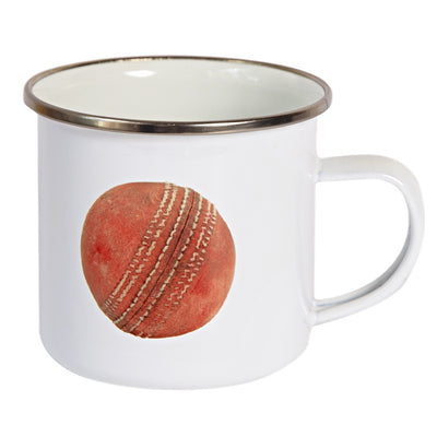 Sporting Nation Old Cricket Ball Enamel Mug