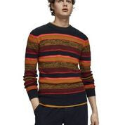 Scotch & Soda Structured Crewneck Pullover in Recycled Yarns in Night Melange