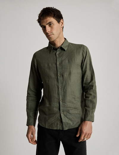 Mr Simple Linen Long Sleeve Shirt - Fatigue | Buster McGee Daylesford