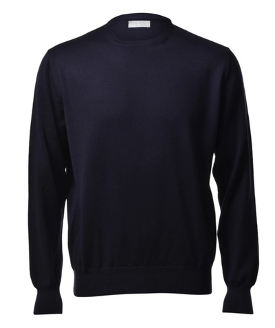 Gran Sasso Men's Extrafine Merino Crew Neck Knit in Navy