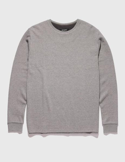 Mr Simple Waffle Long Sleeve Tee in Grey Marle Front Side shot