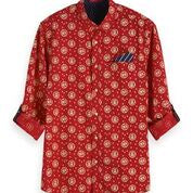 Scotch & Soda Classic All Over Printed Pochet Shirt Regular Fit Combo B Front Outline